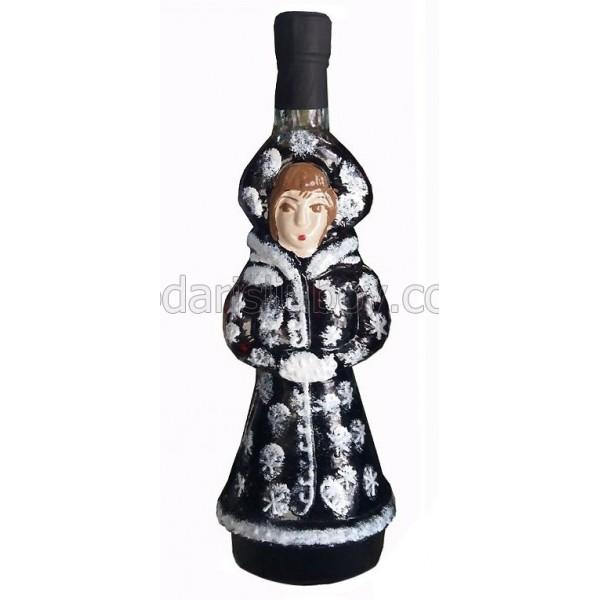 Декоративна бутилка с червено вино - Снежанка