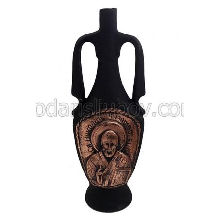 Декоративна бутилка Св. Николай чудотворец, червено вино
