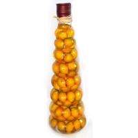 Жълти сфери, декоративна бутилка - 24см