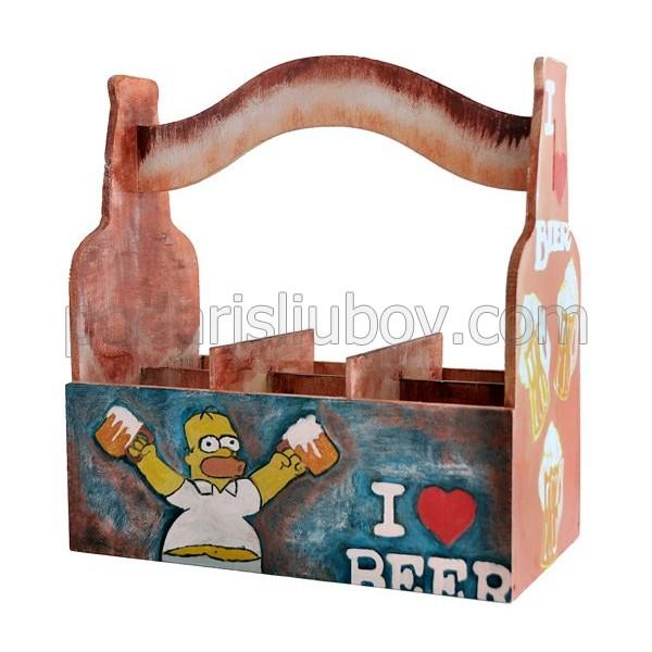 Дървена кутия за бира (сандъче) с декорация