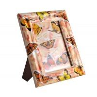 Дървена рамка за снимка 10*15см, с декорация Пеперуди