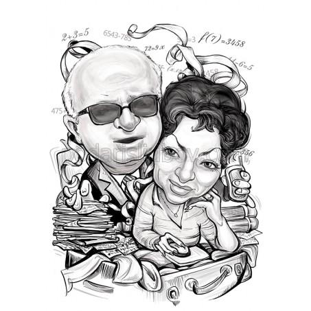 Дигитална черно-бяла карикатура от Ваши снимки с 2 лицa, размер А4