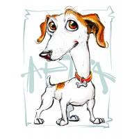 Дигитална карикатура на животинка от Ваша снимка (за куче, коте), размер А3