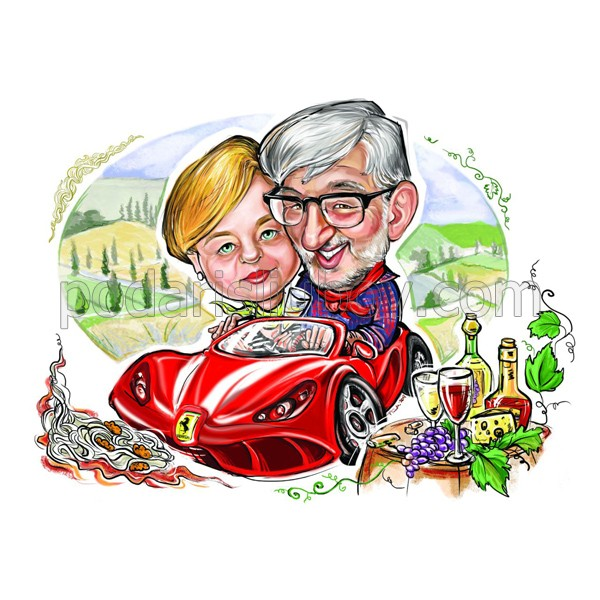 Дигитална карикатура от Ваши снимки с 2 лица, размер А3