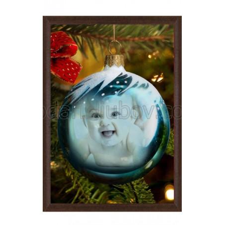 """Колаж """"Честита Нова Година"""", снимка в топка, 13*18см"""