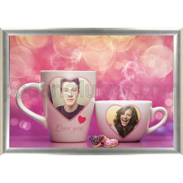 """Колаж """"Обичам те"""", с Ваши снимки на чаши"""