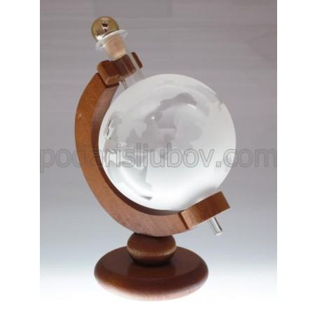 Сувенирна бутилка глобус, дървена стойка, 350мл