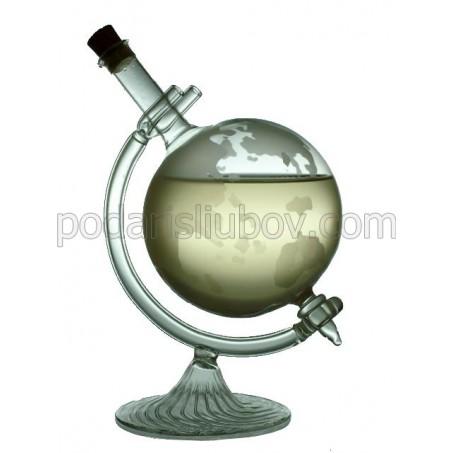 Сувенирна бутилка глобус, стъклена стойка, 500мл