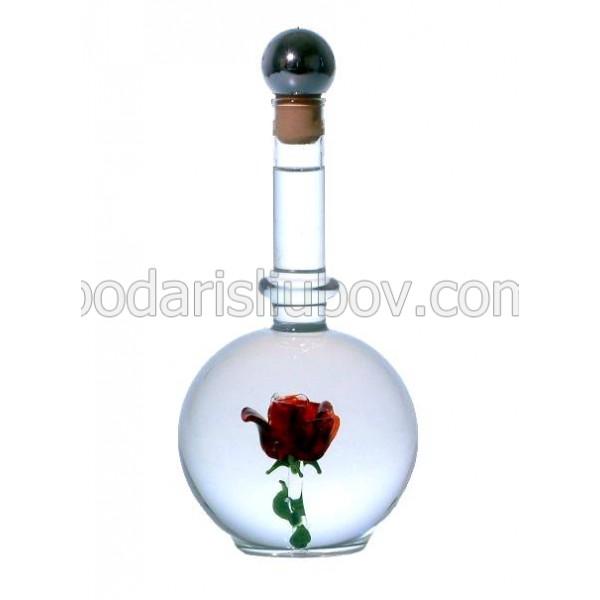 Сувенирна бутилка с червена роза , 500мл