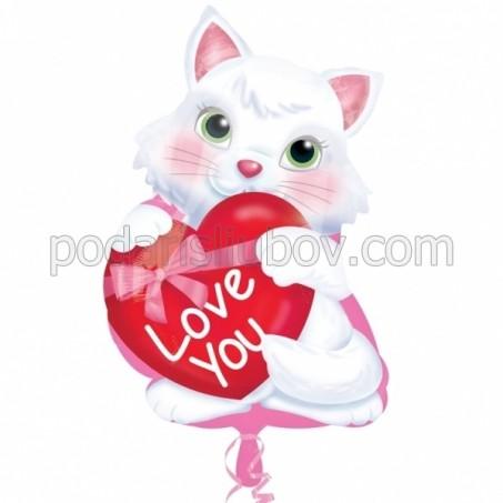 """Балон коте със сърце """"I love you"""", 45см"""