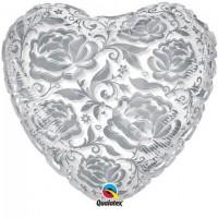 Балон сърце с кристални рози, 60см