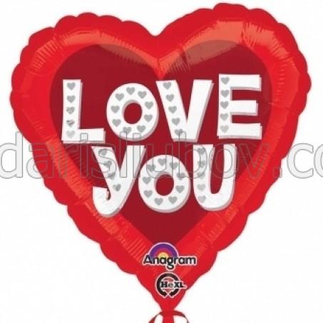 """Балон сърце """"I love you"""", 45см"""