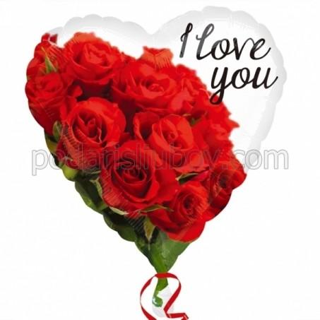 Балон сърце с букет червени рози, 45см