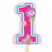 """Балон цифра 1, розов, """"Честит рожден ден"""", 71см, за момиченце"""