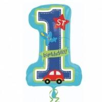 """Балон цифра 1, син, """"Честит рожден ден"""", 71см, за момченце"""