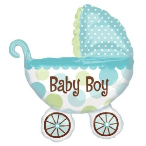 """Огромен балон за новородено """"Baby boy"""", 71*79см + подарък! Помпа за балон"""