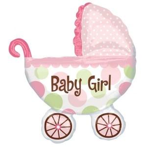 """Огромен балон за новородено """"Baby girl"""", 71*79см + подарък! Помпа за балон"""