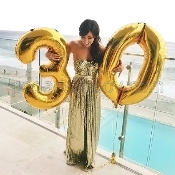 За юбилей! 2 бр. фолиеви балони с форма на цифри, размер 1 метър