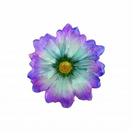 Брошка Хризантема Бенджамас, лилаво-зелен