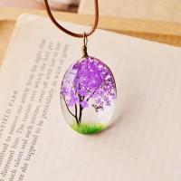 Колие с естествени цветя, Дървото на живота, лилав цвят
