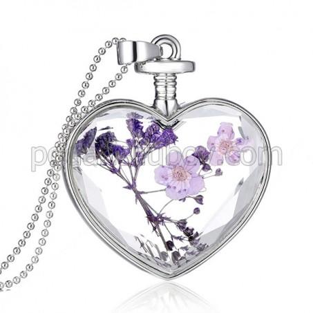 Дамско колие Сърце, средно, цветя микс Пурпурни мечти