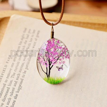 Колие с естествени цветя, Дървото на живота, розов цвят