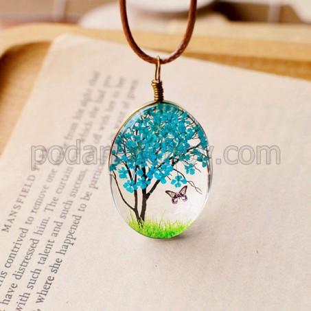 Колие с естествени цветя, Дървото на живота, син цвят