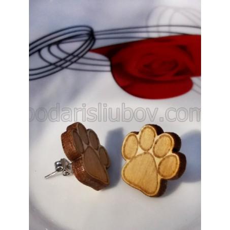 Дървени обеци мини лапички, щифт