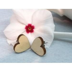 Дървени обеци мини сърца, на щифт
