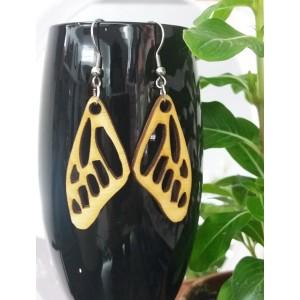 Дървени обеци Пеперудени крила, висящи, 62мм, различни цветове