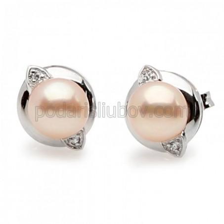 """Обеци от сребро с перла """"Algoma"""""""