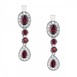 """Луксозни сребърни обеци с Гранат и Цирконии  """"Jennifer"""""""