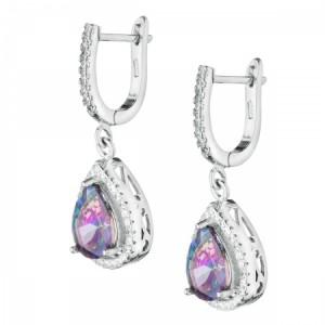 """Сребърни обеци с Топаз и Циркони """"Tiffany"""""""