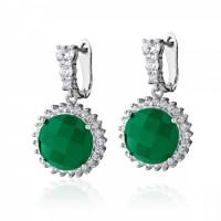 """Сребърни обеци  със зелен Ахат и цирконии """"Claudine"""""""