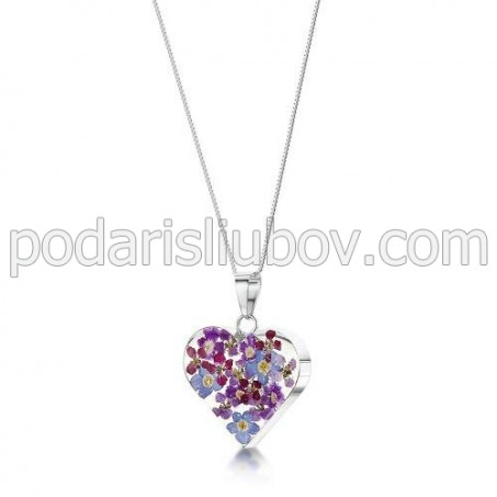 Сребърен медальон, Виолетова омая, сърце, (средно)