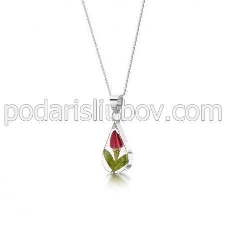 Сребърен медальон, капка,роза (малък)