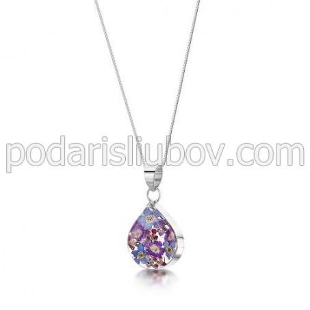 Сребърен медальон, капка, Виолетова Омая (малка)