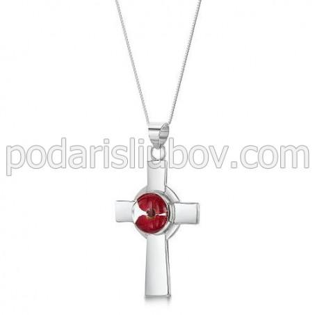 Сребърен медальон, Келтски кръст, Мак