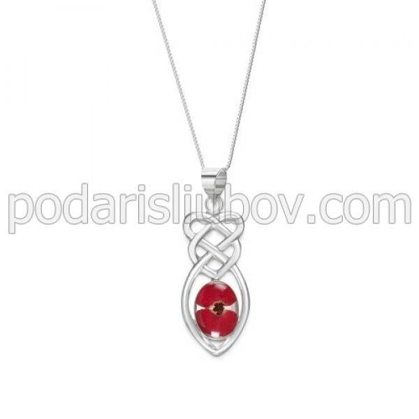 Сребърен медальон, Келтски възел, Мак