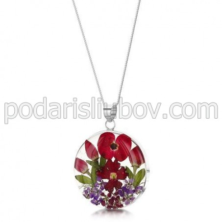 Сребърен медальон, кръг, макове и рози (голям)