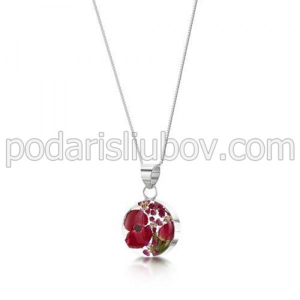Сребърен медальон, кръг, малък, макове и рози
