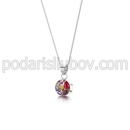 Сребърен медальон, кръг, много малък, микс, роза с жълто