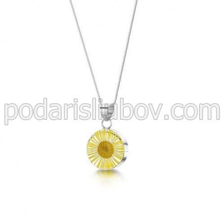 Сребърен медальон, кръгъл, Жълта Маргарита