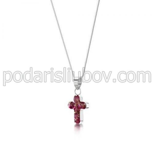 Сребърен медальон, кръст, среден, Зимна Красавица