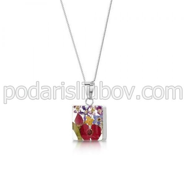 Сребърен медальон, квадрат, микс (среден)