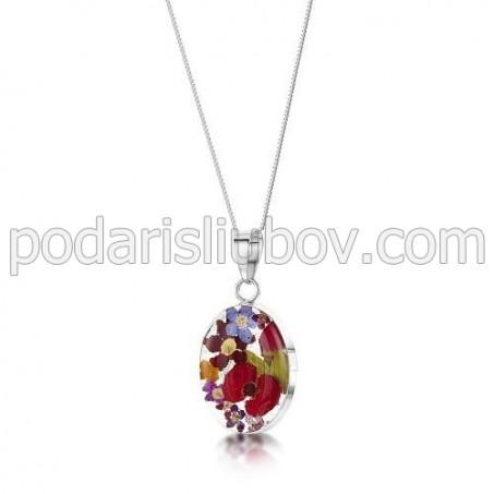 Сребърен медальон, овал, среден, роза и мак