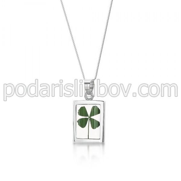 Сребърен медальон, правоъгълен, Четрилистна Детелина