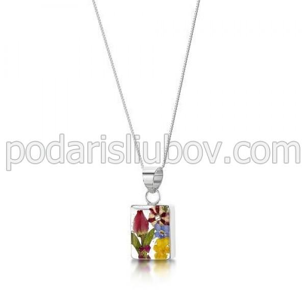 Сребърен медальон, правоъгълен, малък, микс