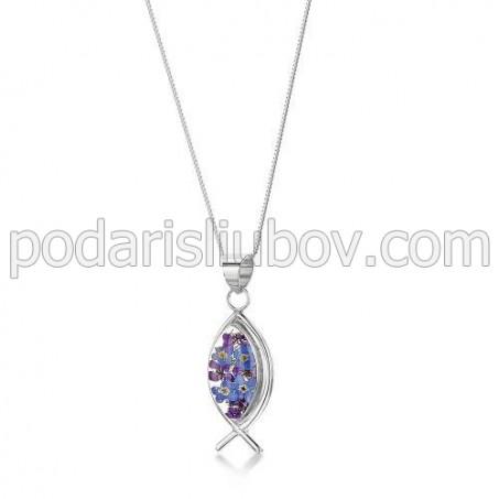 Сребърен медальон, Рибка, Виолетова омая