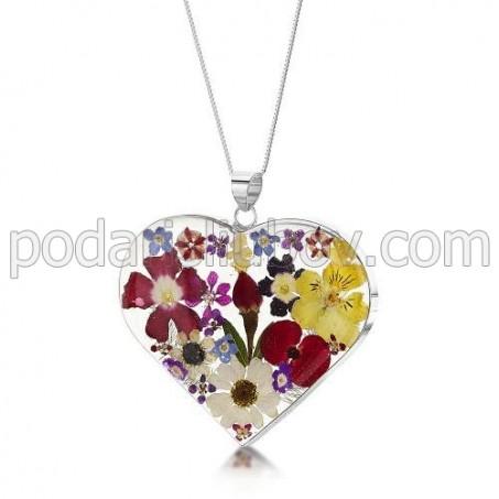 Сребърен медальон, сърце, голямо, микс